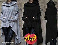 Кардиган с капюшоном Ткань:трикотаж Длина:110 см  Цвета:черный,бордо. аа№ карелия