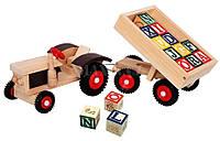 """Деревянный трактор с кубиками """"ABC"""", 82077, Bino"""