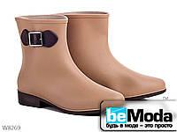 Оригинальные сапоги женские резиновые Beige на маленьком каблуке бежевые