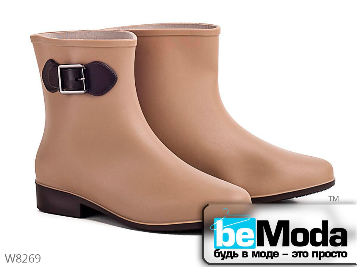 37d75ba2c Оригинальные сапоги женские резиновые Beige на маленьком каблуке бежевые -  Модная одежда, обувь и аксессуары