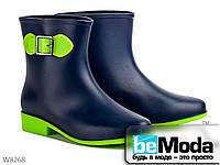 Оригинальные сапоги женские резиновые Blue/Green на маленьком каблуке синие с зеленым
