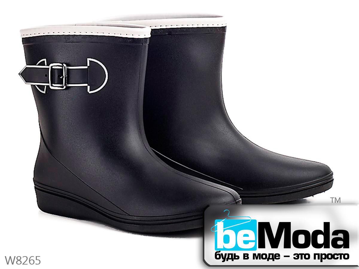 73ff2662b Удобные сапоги женские резиновые Black с декоративной пряжкой черные - Модная  одежда, обувь и аксессуары