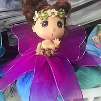 Меховой брелок Кукла девочка на меховом шаре