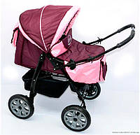 Коляска для детей Viki 86 бордово-розовая