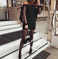 Платье нарядное Ткань:трикотаж + сетка Длина:90 см. Цвета:черный.. аа №0814