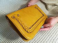 Маленькая женская  сумка напульсник клатч через плече желтая