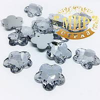 Пришивной акриловый Цветочек, цвет Crystal, 18 мм, цена за 1 шт