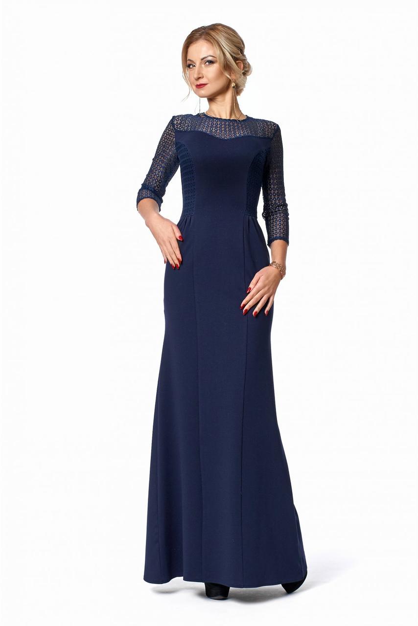 Женское длинное вечернее платье / размер 42,44,46,48, цвет темно синий