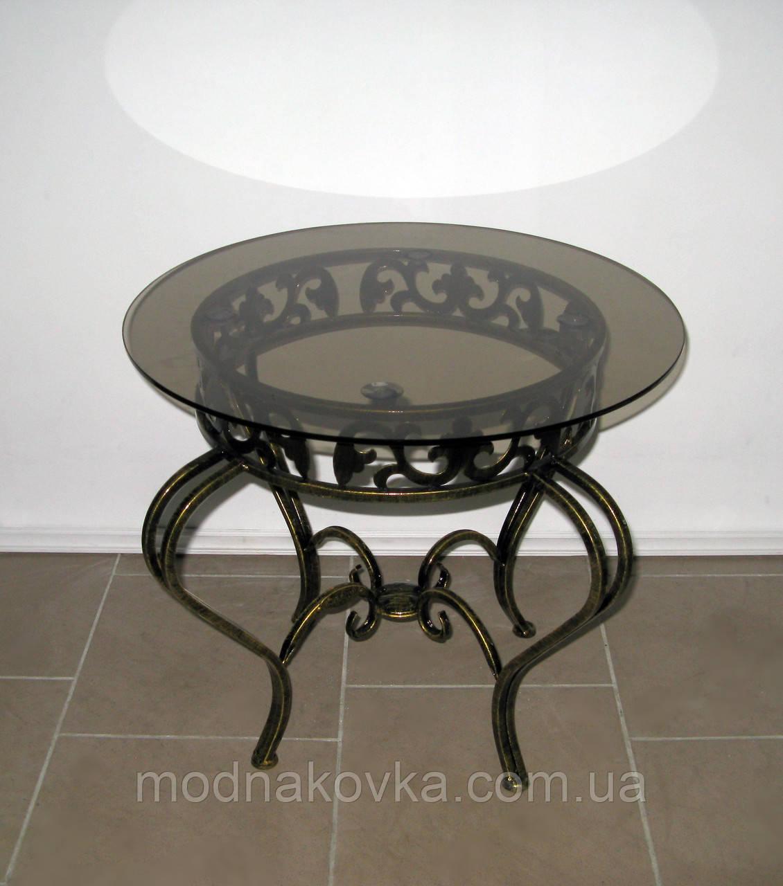 Стол кованый журнальный круглый со стеклом черный/золото