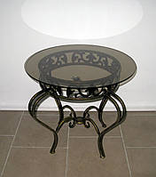 Стол кованый журнальный круглый со стеклом черный/золото, фото 1