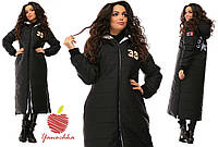 Стеганое пальто длинное с нашивками батал