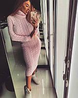 Женское модное и очень теплое платье под горло, 3 цвета