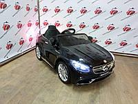 Детский электромобиль Mercedes AMG S63, автопокраска, кожаное сидение, пульт 2.4G, черный