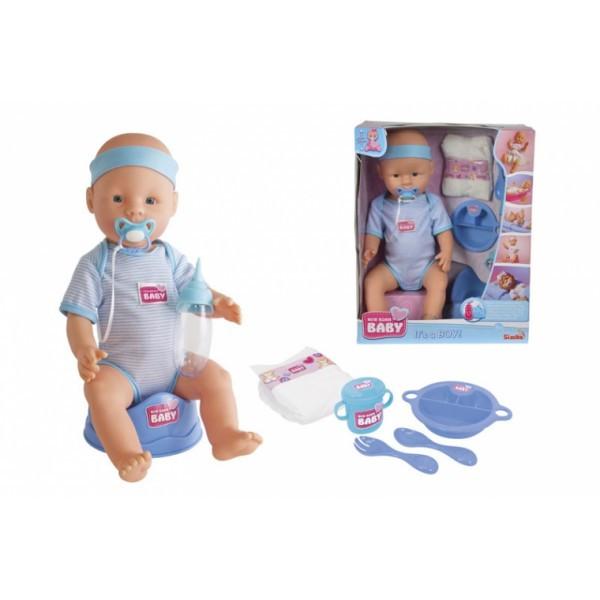 Пупс NBB Уход за малышом с аксессуарами голубой 43 см 5030044