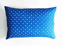 Подушка декоративная 60х40см. Синяя в горох.