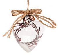 Елочное украшение Сердце 9.5см с декором из веток, набор 6 шт