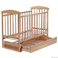 """Кроватка деревянная детская маятник+шухляда """"Наталка"""" светлый ясень"""