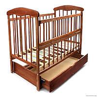 """Кроватка деревянная детская маятник+шухляда - откидной бортик """"Наталка"""" ЯСЕНЬ ТЕМНЫЙ"""