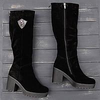 Женские зимние сапоги из замша на каблуке