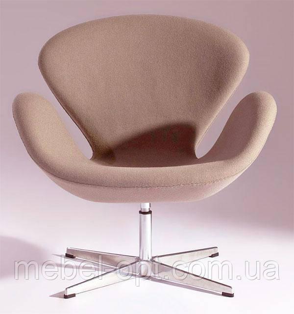 Кресло дизайнерское Сван коричневое, с газовым лифтом, точная копия кресла Swan дизайн Арне Якобсена