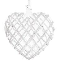 Елочное украшение Сердце 13см, прозрачное стекло с декором из белого бисера, набор 6 шт