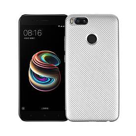 Чехол накладка для Xiaomi Mi A1 / Xiaomi Mi 5X силиконовый, Carbon Fiber Texture, серебристый
