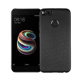 Чехол накладка для Xiaomi Mi A1 / Xiaomi Mi 5X силиконовый, Carbon Fiber Texture, черный