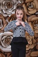 Жакет дівч Зіронька 9011-2, 122 синій мереживо трикотаж