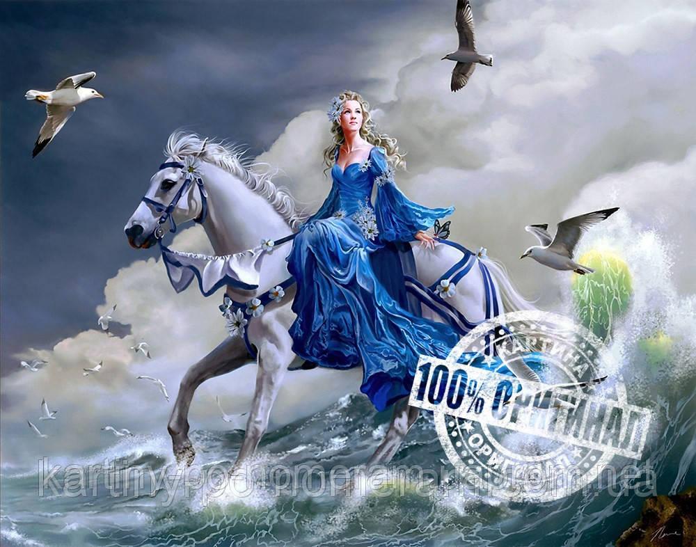 Картина раскраска по номерам VP125 Девушка на лошади (40 х ...