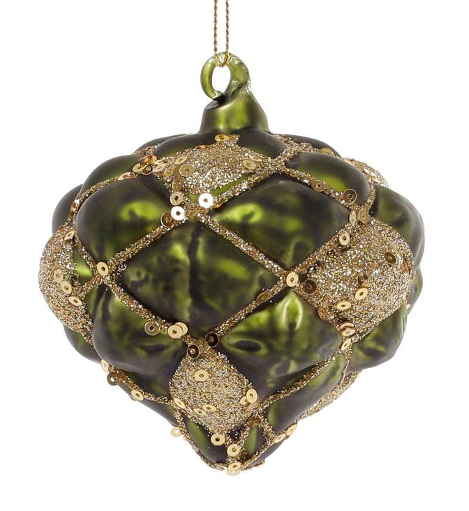 Елочное украшение в форме луковицы 8см, цвет - темно-зеленый с золотом - Amadeo в Одессе