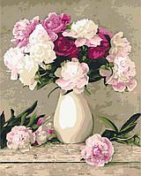 Картина для рисования по номерам Пионы в белой вазе (KHO2084) Идейка 40 х 50 см (без коробки)
