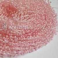 Жемчуг на леске 3 мм, длина 1,3 м, св. розовый