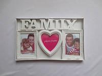 Мультирамка на 3 фотографии белого цвета Family