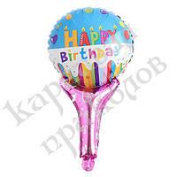 Шарик с надувной ручкой Happy Birthday (свечи), фото 1