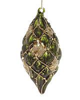 Елочное украшение в форме оливы 12.5см, цвет - темно-зеленый с золотом, набор 6 шт