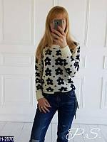 Стильный женский свитер Цветы. Арт-12329