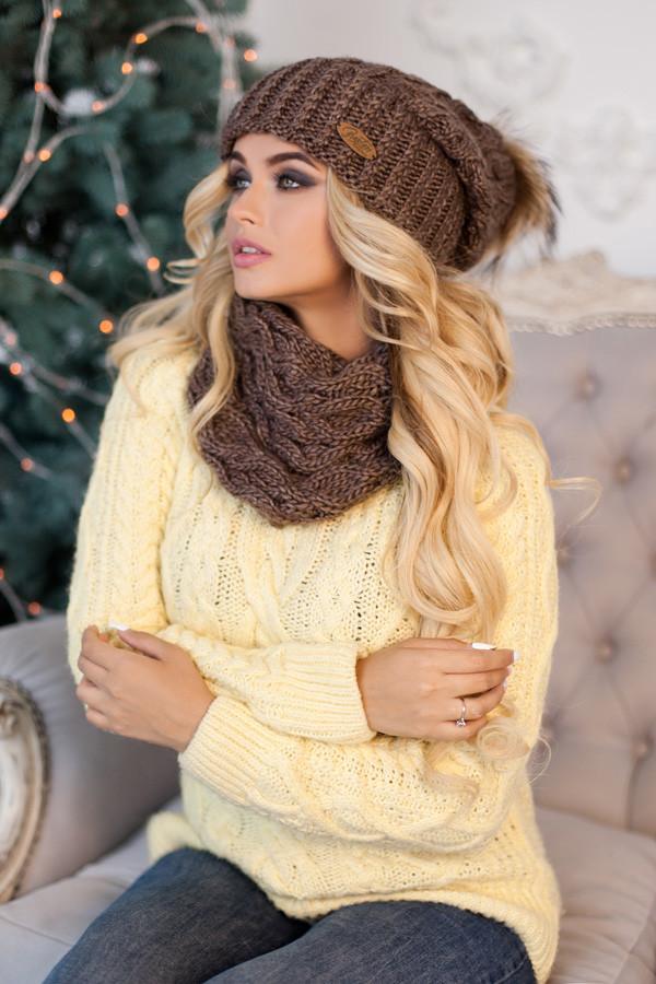 Комплект «Франсуа» (шапка и шарф-хомут) 4361-7 коричневый