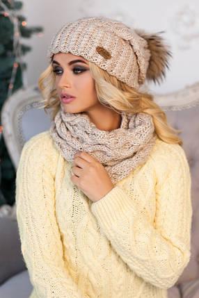 Комплект «Франсуа» (шапка и шарф-хомут) 4361-7 светлый кофе, фото 2