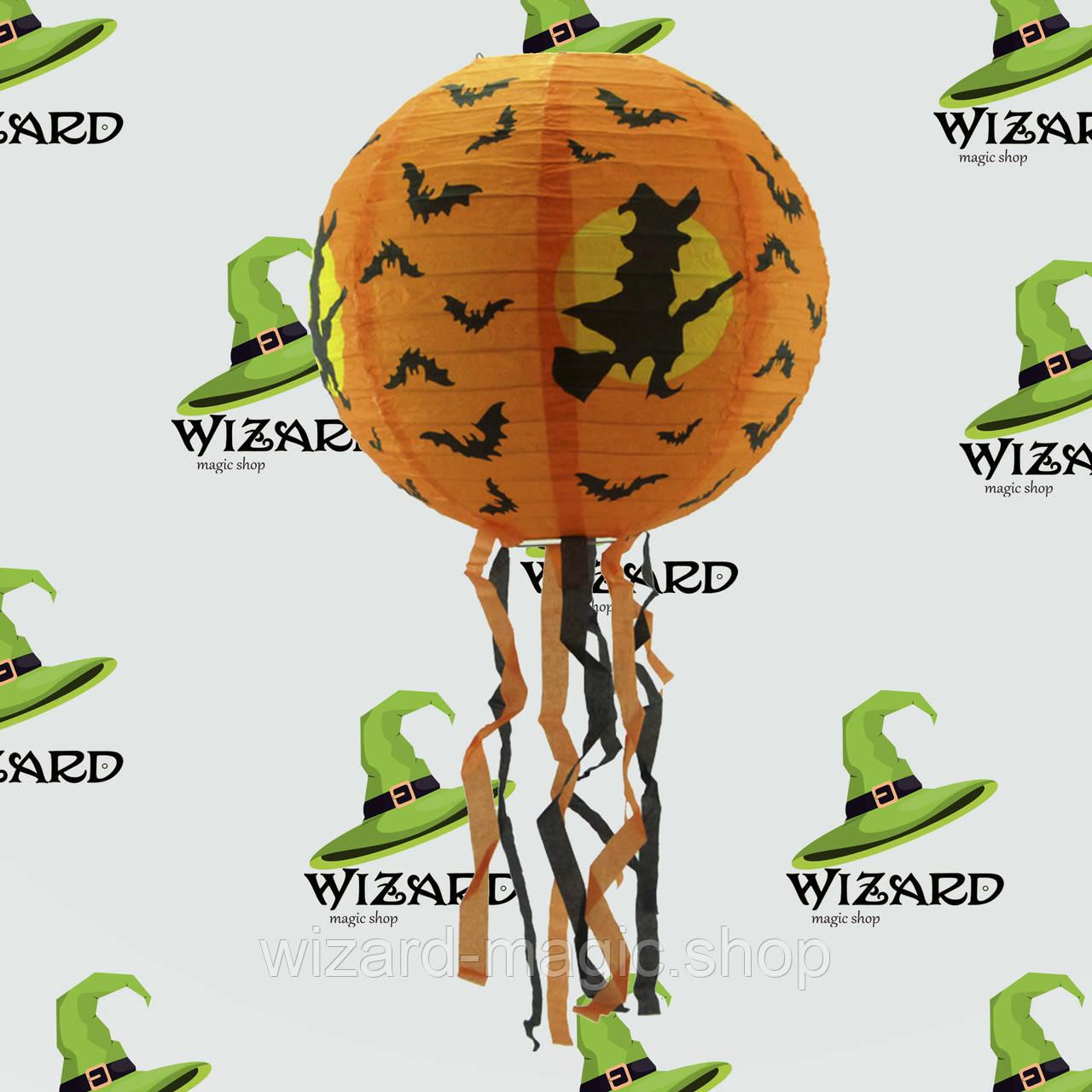 Декор подвесной (30см) оранжевый с ведьмой