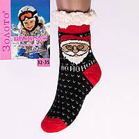 Тёплые детские домашние носки с тормозами Золото HD6010-1 32-35