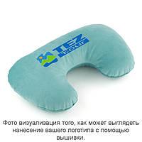 Подушка підголовник світло блакитний флок з лого Тез Тур