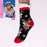 Тёплые детские домашние носки с тормозами Золото HD6010-3 28-31