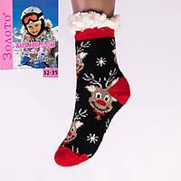 Тёплые детские домашние носки с тормозами Золото HD6010-3 32-35
