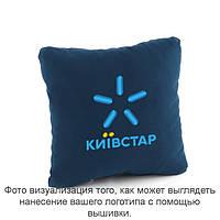 Подушка квадратная синий флок с лого Киевстар