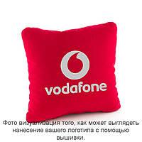 Подушка квадратная красный флок с лого Водафон