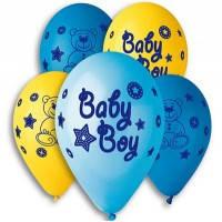 Воздушные шары  латексные, с рисунком Baby Boy 30 см.