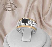 """Серебряное кольцо с золотыми накладками """"129 черный"""", фото 1"""