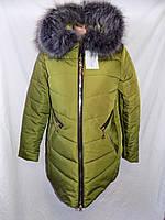 Женская длинная куртка с меховым воротником зима 009