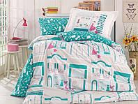 Комплект постельного белья  Hobby поплин размер полуторный Sonia бирюзовый