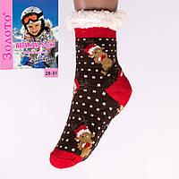 Тёплые детские домашние носки с тормозами Золото HD6010-6 28-31